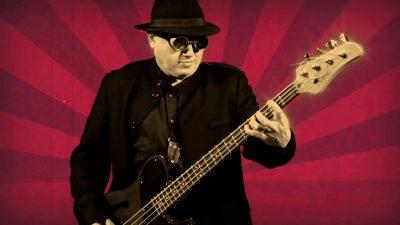 Rick plays bass in Steam Punk video