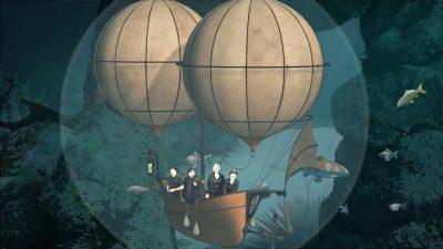 Steam punk airship sailing through night
